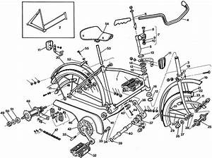 Raleigh Mountie Dl80 Bicycle Exploded Drawing From 1977