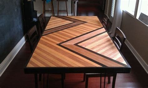 hand  chevron inspired wooden table top  built