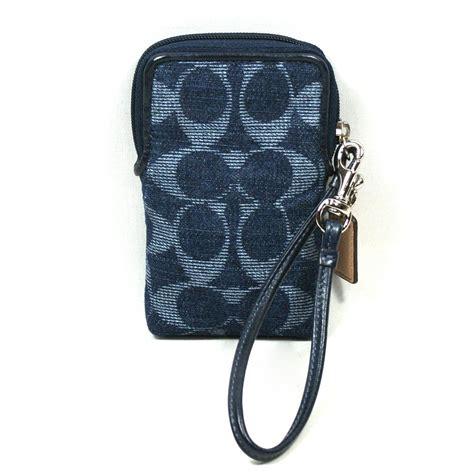 coach poppy denim universal case wristlet iphone    case  coach