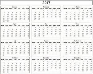Small Printable Calendar 2017