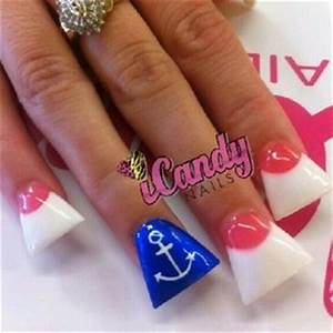 Duck feet nails #dark pink #pink and white #anchor #sailor ...