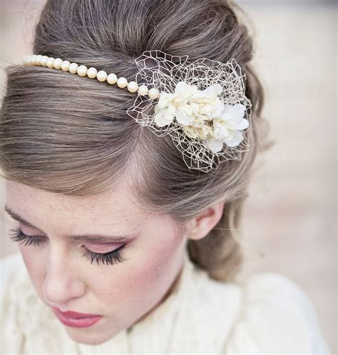 Wedding Hair Vintage Romance Pearl Headband Or Wedding Tiara