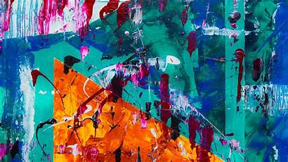 Abstract Painting Teal Orange Canvas Colorful Paint