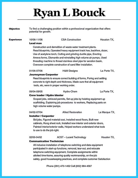Carpenter Resume Objective Exles by Tips You Wish You Knew To Make The Best Carpenter Resume
