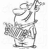 Cartoon Clipart Outline Accordion Playing Coloring Guy Happy Vector Leishman Ron Guitar Elvis sketch template