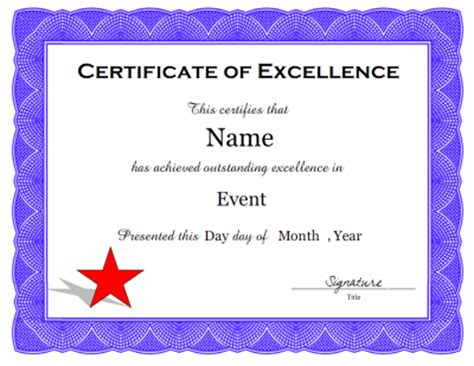 Certificate Of Excellence Template Editable by Certificate Of Excellence Template