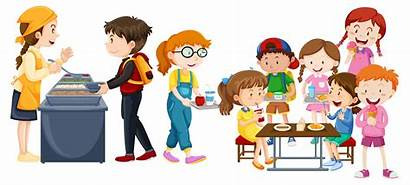 Cafeteria Eating Children Vector Lunchroom Lunch Clipart