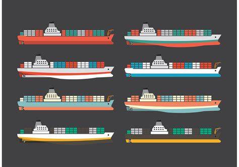 colorful container ships   vectors clipart