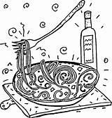 Coloring Spaghetti Italian Pasta Italy Printable Restaurant Coloringpages101 Supercoloring Getcolorings Printables Popular sketch template