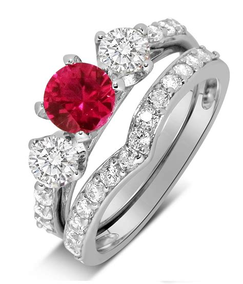 luxurious 2 carat ruby and wedding ring in 10k white gold jeenjewels