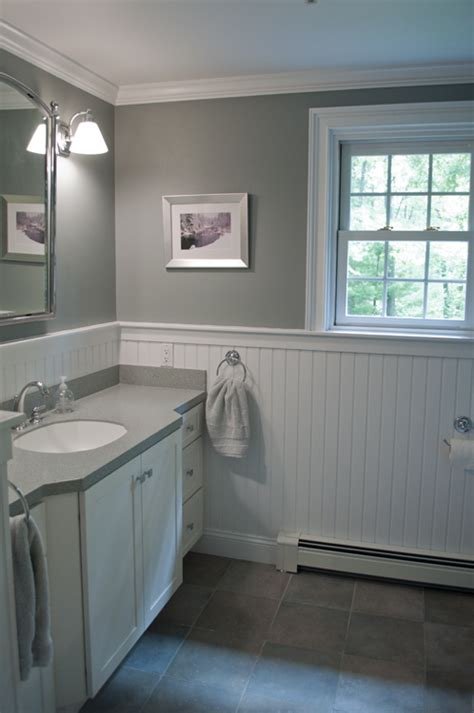 bathroom with wainscoting new england bathroom design custom by pnb porcelain stone look tile white beadboard wainscot