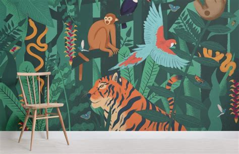 Animal Mural Wallpaper - jungle animals wallpaper wall mural muralswallpaper co uk
