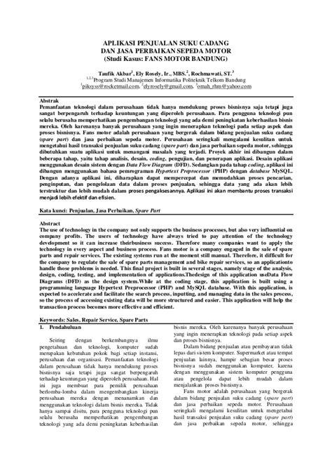 Jurnal pa aplikasi penjualan suku cadang dan jasa