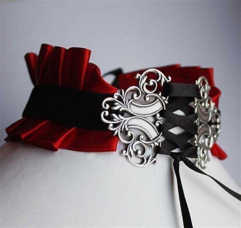 red vampire satin neck corset  ribbon choker jewelry
