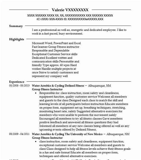 Fitness Instructor Resume by Fitness Instructor Resume Sle Livecareer