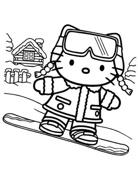 Hello Kitty on snowboard printable image
