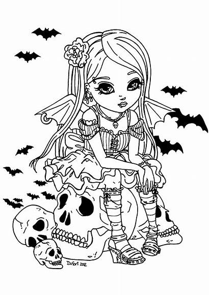 Coloring Vampire Halloween Adult Fille Adults Coloriage