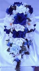 21pcs Bridal bouquet wedding flowers ROYAL BLUE / WHITE | eBay