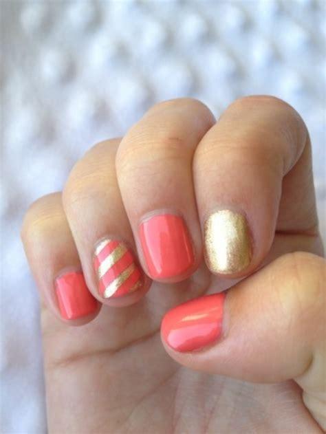 hot coral nail art designs