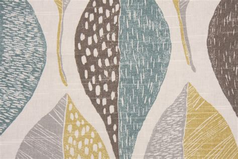 Robert Allen Woodblock Leaf Printed Cotton Drapery Fabric