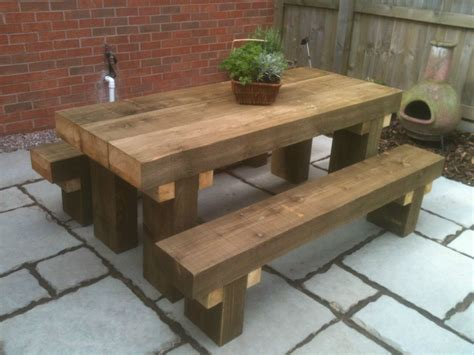 Patio Table With Bench Seating by Sleeper Picnic Table Seats 6ft Chunky Tanalised