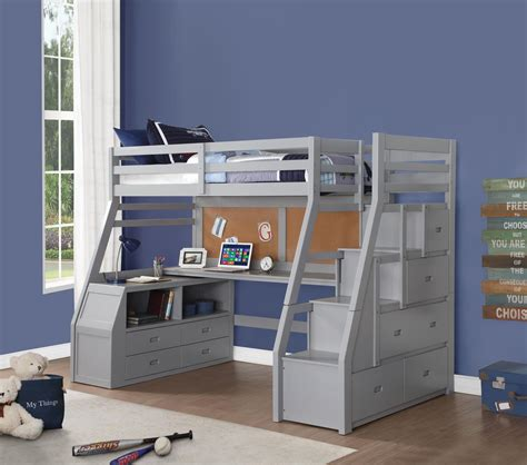 Give your child the ultimate room with our selection of kids' & toddler beds. Jay Twin Size Loft Bed with Staircase in Gray - Kids ...