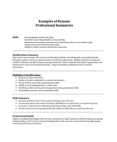 Exles Of A Professional Summary by A Resume Summary Exles Exles Resume