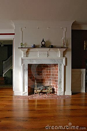 fireplace  antique colonial style home interior stock