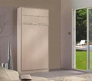 Lit Avec Armoire : armoire lit escamotable 1 place jacquelin avec eclairage matelas 90 20 190 cm belle ~ Teatrodelosmanantiales.com Idées de Décoration