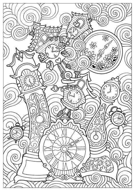 disegni da colorare per adulti persone clocks konstantinos liaramantzas anti stress