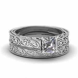 engraved milgrain set fascinating diamonds With asscher cut wedding ring set