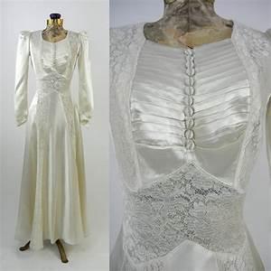 vintage wedding dress 1930s satin wedding gown vintage ivory With vintage satin wedding dress