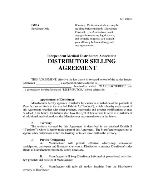 top   distributor agreement templates word