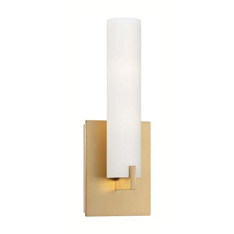 modern sconce wall light with white glass in honey gold