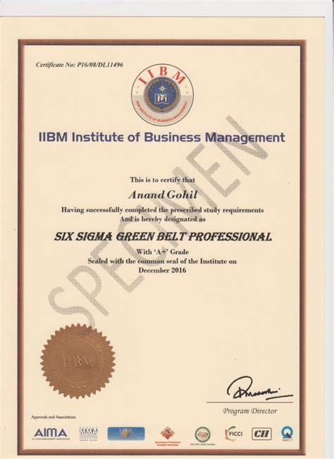 specimen certificate iibm india
