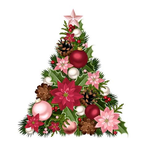 Christmas Tree With Red And Pink Decorations. Vector