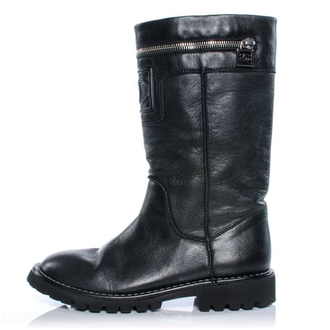 zipper motorcycle boots chanel leather motorcycle zipper boots 35 5 black 40434