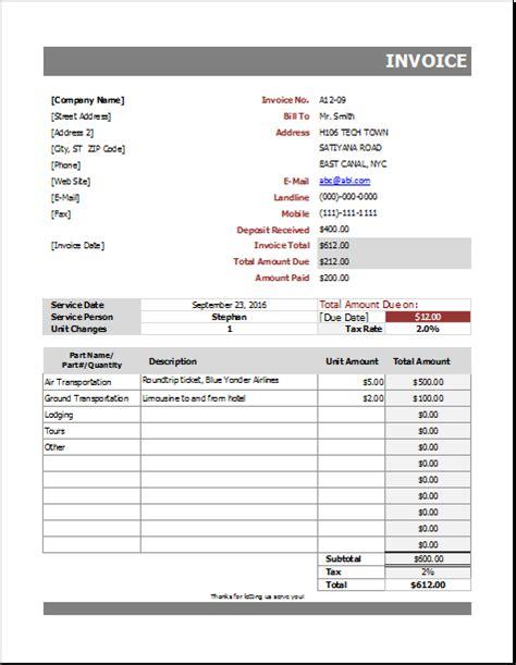 auto repair billing invoice  excel excel invoice