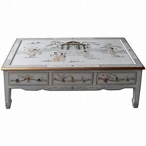 Table Basse Chinoise : table basse chinoise laque blanche 6 tiroirs ~ Melissatoandfro.com Idées de Décoration