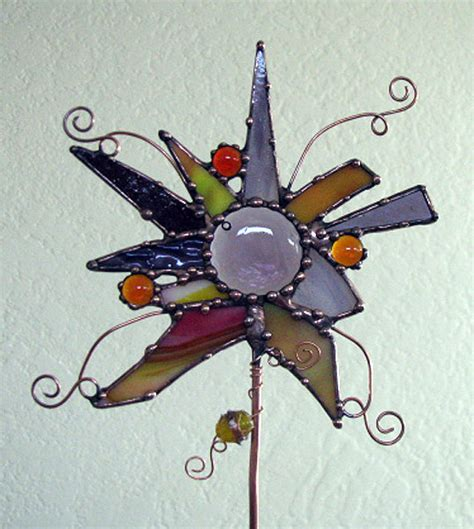 stained glass projects for outdoors abstract stained glass copper garden art plant by groovyglass