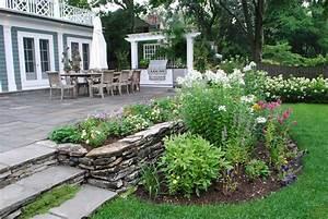 Terraced backyard shade garden gathering e green with for Simple terrace garden ideas