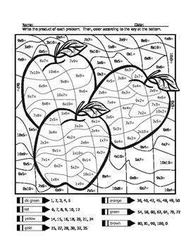 apple multiplication coloring sheet  wisteacher tpt