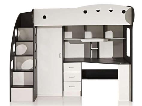 lit mezzanine 90x190 cm coloris blanc gris vente de lit enfant conforama