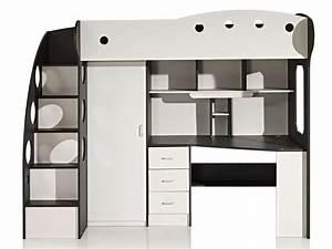 Lit Bureau Enfant : lit mezzanine 90x190 cm sunny coloris blanc gris vente ~ Farleysfitness.com Idées de Décoration