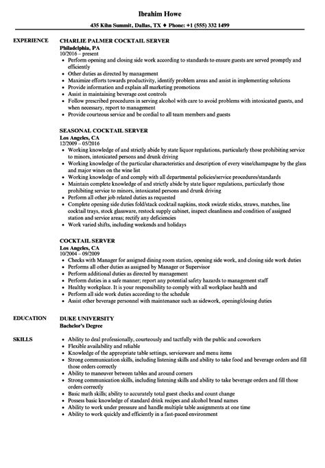 Cocktail Server Resume by Cocktail Server Resume Sles Velvet