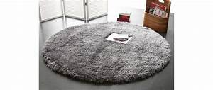 tapis shaggy rond gris 150 cm ugo miliboo With tapis rond 150 cm
