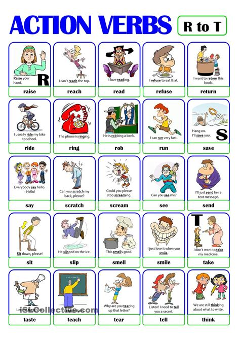 Pictionary  Action Verb Set (4)  From R To T  Esl Worksheets Of The Day  Pinterest Action