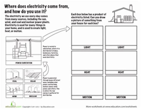 electricity sources and functions worksheet education