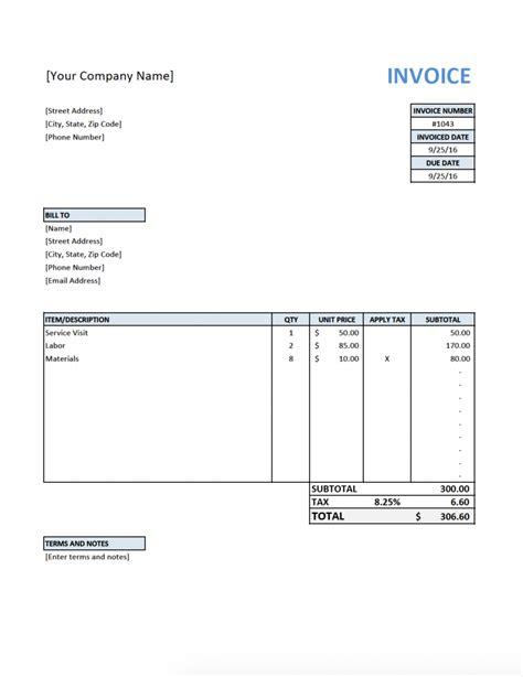 invoice template  contractors