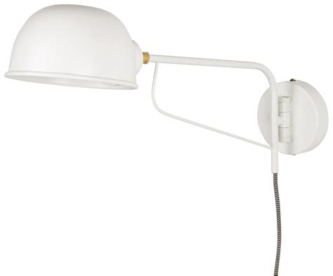 White Wall Mounted Round Plug In Lamp
